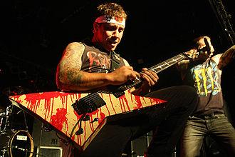Atreyu - Lead guitarist Dan Jacobs performing a guitar solo in Spain.