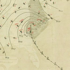 1893 Atlantic hurricane season - Image: August 28, 1893 hurricane 6 map