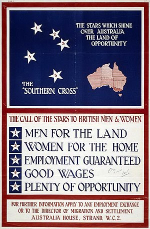 "Stanley Bruce - Poster promoting migration to Australia as part of the ""men, money and markets"" scheme, 1928"