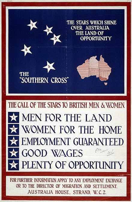 "Poster promoting migration to Australia as part of the ""men, money and markets"" scheme, 1928 Australian Migration Poster, 1928.jpg"