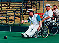 Australian paralympic lawn bowls competitor, Robert Tinker, at the 1996 Summer Paralympic Games.jpg