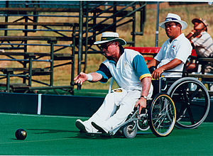 Disability classification in lawn bowls - A wheelchair bowler at the 1996 Summer Paralympics