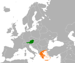 Map indicating locations of Austria and Greece