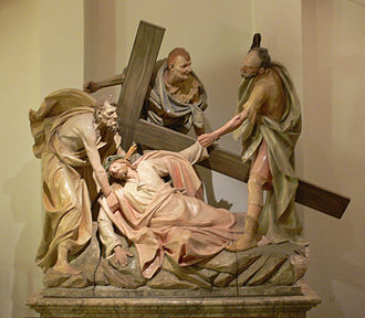 Christ Carrying the Cross - Jesus falls the second time from a 19th-century German Stations of the Cross