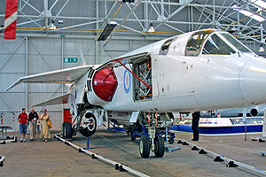 BAC TSR-2 - TSR-2 XR220 at RAF Museum Cosford, 2002, with open access panel revealing interior details
