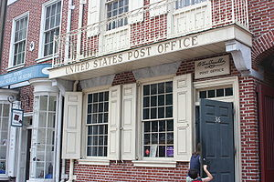 Postage stamps and postal history of the United States - B Free Franklin Post Office in Philadelphia