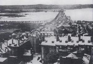 Boston & Roxbury Mill Dam - An 1858 view of the Boston Milldam