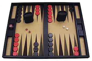 A contemporary backgammon set.
