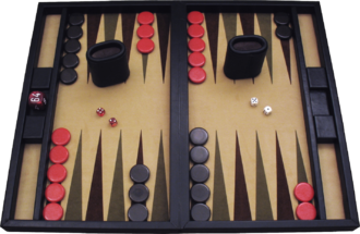 Backgammon - A backgammon set, consisting of a board, two sets of 15 checkers, two pairs of dice, a doubling cube, and dice cups