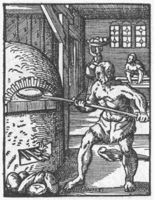Baker putting bread into an oven with a peel, 1568