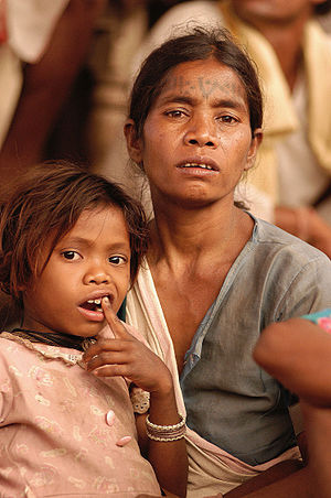 Baiga woman and child, India.