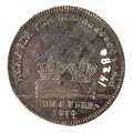 Baksida av kastpenning med bild av två kronor samt text - Skoklosters slott - 99579.tif