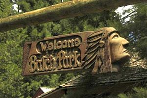 Balch Park - Carved wooden sign at the entrance to Balch County Park.