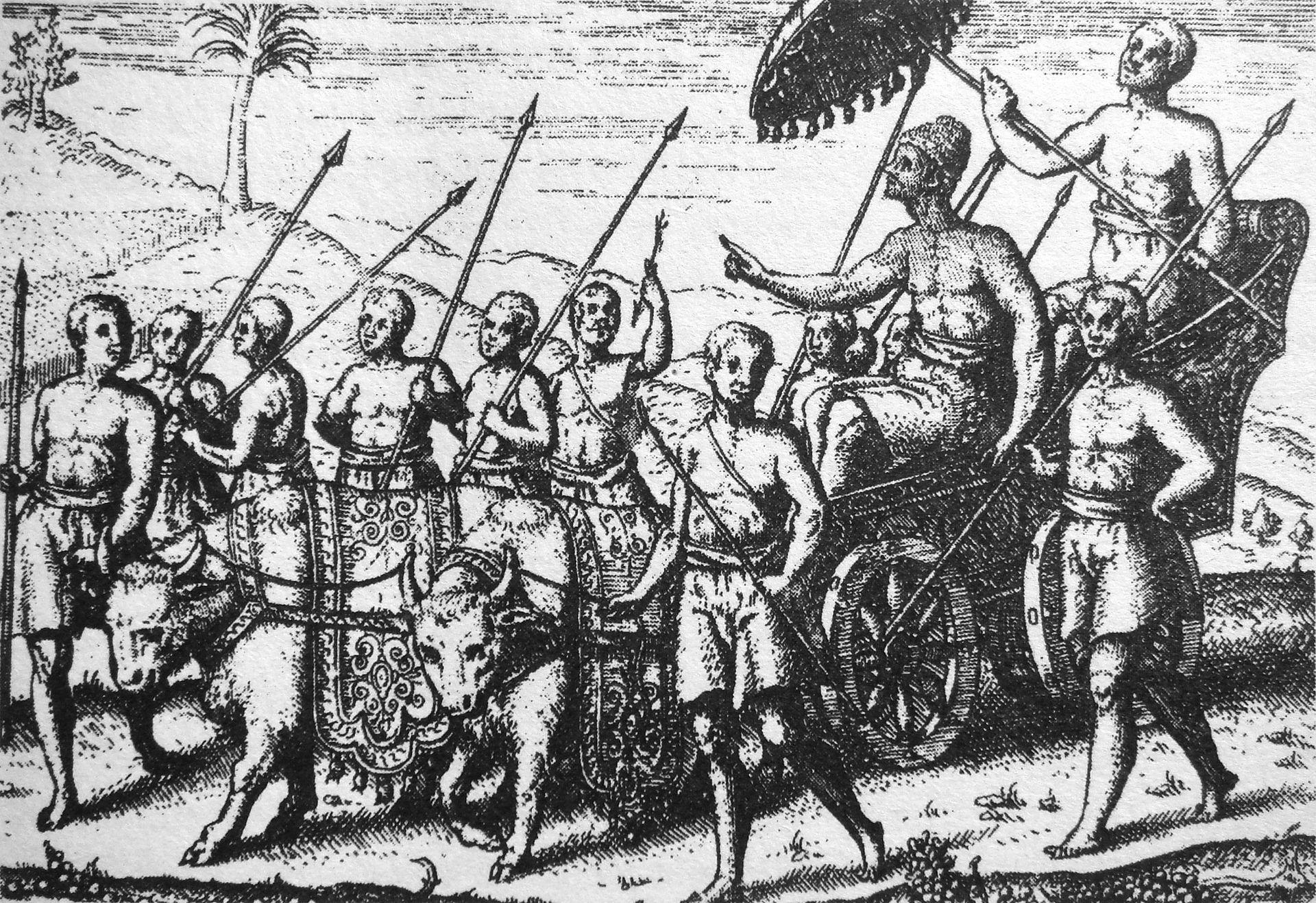 Dalem, ditarik oleh dua ekor kerbau putih. raja bali. kerajaan Bali.