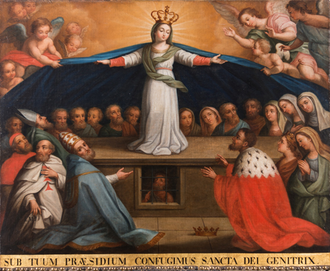 Sub tuum praesidium - 1784 processional banner of the Lisbon Holy House of Mercy depicting the Virgin of Mercy protecting all social classes; the first verse of the hymn is quoted underneath.