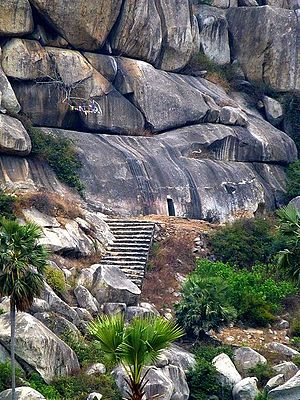 Barabar Caves - Image: Barabar Caves Staircase and Cave Entrance (9224886169)