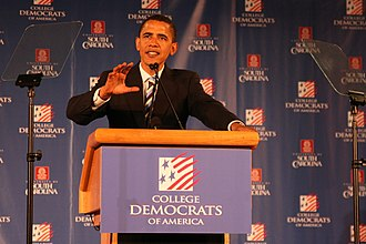 Barack Obama speaking to College Democrats of America in 2007 Barack Obama Speaks to College Democrats.jpg