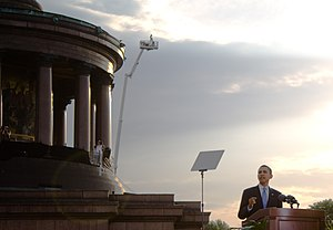Public image of Barack Obama - Obama speaking before a crowd of about 200,000 at the Berlin Victory Column in Germany on July 24, 2008.