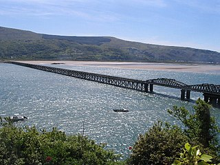 Barmouth Bridge railway bridge across the Mawddach estuary
