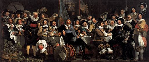 Bartholomeus van der Helst - Celebration of the Peace of Münster, 1648, at the Crossbowmen's Headquarters - WGA11339