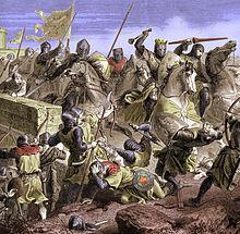 Gravure du XIXesiècle en couleurs représentant des chevaliers, dont l'un est couronné, fonçant sur des fantassins.