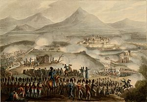 Panoramic view of the battle with allied troops in the foreground and a fortified Toulouse in the middle distance