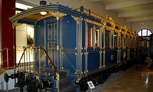 Royal train - Saloon of King Ludwig II of Bavaria (foreground) and terrace-car (background), second half of the 1860s; preserved in Nuremberg Transport Museum
