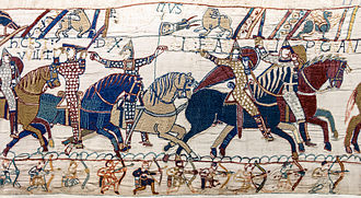 Conquest (military) - William the Conqueror leads his troops at the Battle of Hastings, 1066, Bayeux Tapestry.
