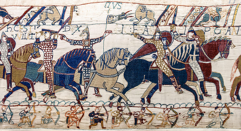 Archivo: Bayeux Tapestry scene55 William Hastings battlefield.jpg