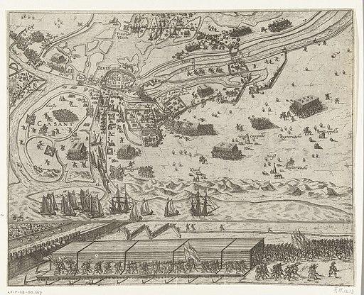 Beleg van Sluis en de overdekte stormbrug gebruikt door het Staatse leger onder Maurits, 1604, RP-P-OB-80.667