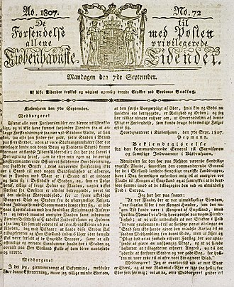 Berlingske - The cover page of Berlingske September 7, 1807 (Royal Danish Library)