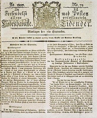 Berlingske - The cover page of Berlingske September 7, 1807 (Royal Danish Library)