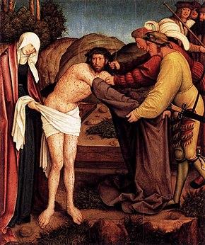 Cristo spogliato dei suoi vestiti, dipinto di Bernhard Strigel, 1520, Berlino, Gemäldegalerie. Rappresenta il momento che precedette la Crocifissione.