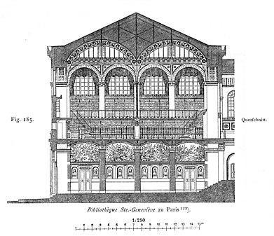 Sección transversal del vestíbulo y la sala de lectura (incompleta)