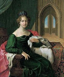 Bildnis der Prinzessin Friederike Herzogin von Sachsen-Anhalt in grünem Samtkleid mit hermelinbesetztem Umhang.jpg