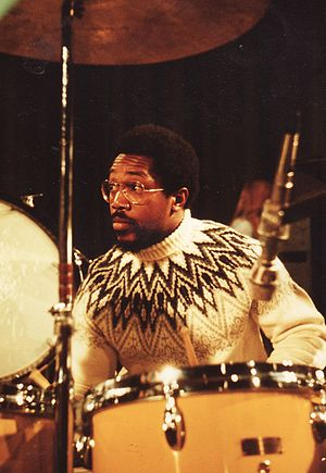 1974 in jazz - Billy Cobham during his Crosswinds tour at Kongeberg Jazzfestival in july 1974