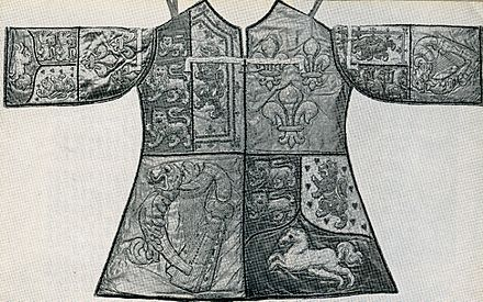 The tabard of Blanc Coursier Herald, Cumberland's private officer of arms Blanc Coursier Tabard.jpg