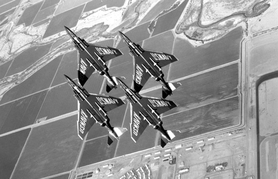 Blue Angels F-4J Phantoms formation from below 1969