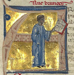 Uc Brunet - Huc Brunets, as he is called in the manuscript, is depicted as a tonsured cleric and man of letters.