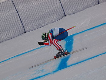 Bode Miller at the 2010 Winter Olympic downhill.