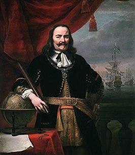 Michiel de Ruyter door Ferdinand Bol in 1667. Hij draagt zijn Orde van de Heilige Michaël