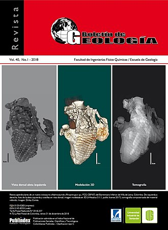 Platypterygius - Photo, 3D model and tomography of the left flipper of P. sachicarum on the cover of Boletín de Geología