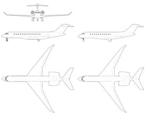 Bombardier Global 7000 - Bombardier Global 7000-8000 three views