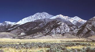 Lost River Range - Borah Peak, Idaho, looking east (note 1983 earthquake fault scarp).