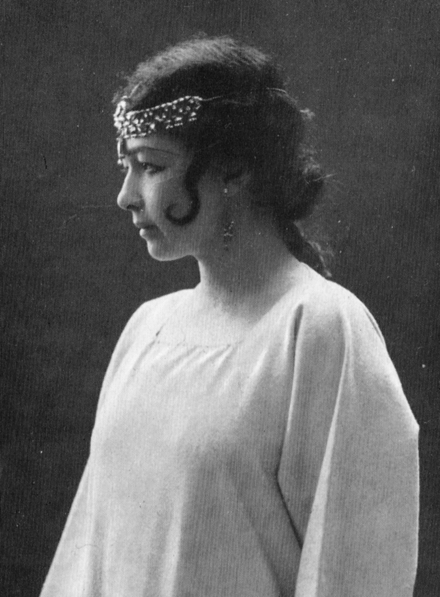 Strindberg's third wife, the actress Harriet Bosse, as Indra's Daughter in the 1907 premiere of A Dream Play Bosse as Indra's daughter in A Dream Play.1907.png