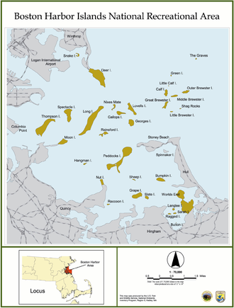 Boston Harbor Islands National Recreation Area - Map of the Boston Harbor Islands National Recreation Area.