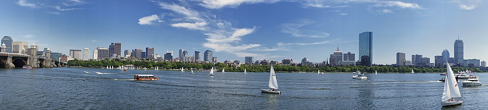 ‪ Sailboats on the Charles River overlook the Boston skyline, as seen from Cambridge. ‬