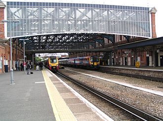 Bournemouth railway station, built in 1885, with a replica Victorian iron and glass roof Bournemouth railway station.JPG