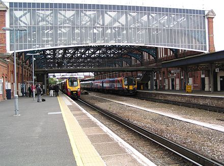 Bournemouth railway station, built in 1885, with a replica Victorian iron and glass roof. Bournemouth railway station.JPG
