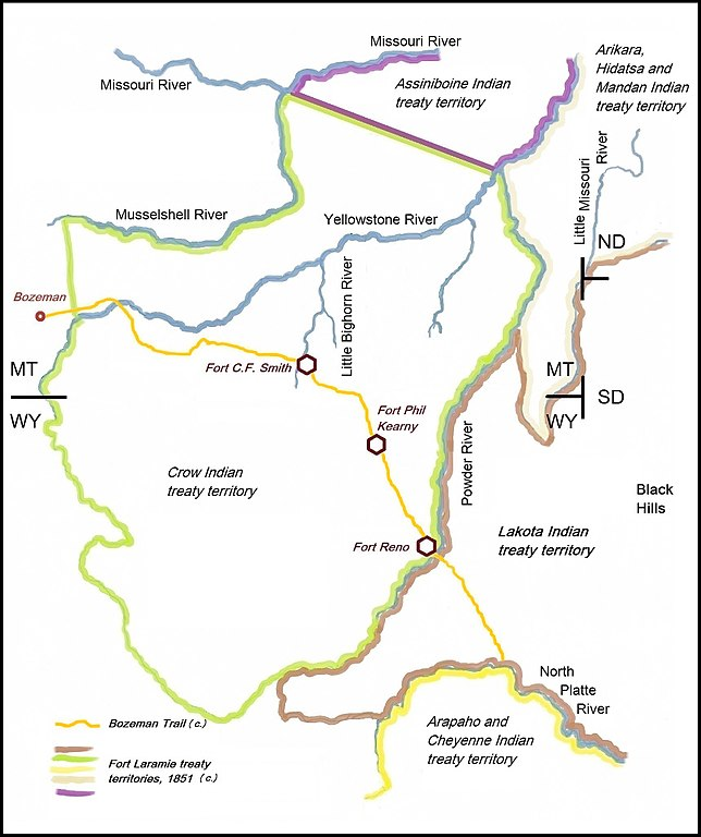 File:Bozeman Trail, the forts and the Indian territories.jpg ...